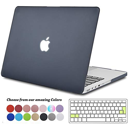 TECOOL MacBook Pro 13 Retina Hülle, Slim Case Plastik Hartschale Schutzhülle Snap Cover mit Transparente Tastaturschutz für Apple MacBook Pro 13,3 Zoll Modell:A1425 / A1502 - Licht Schwarz