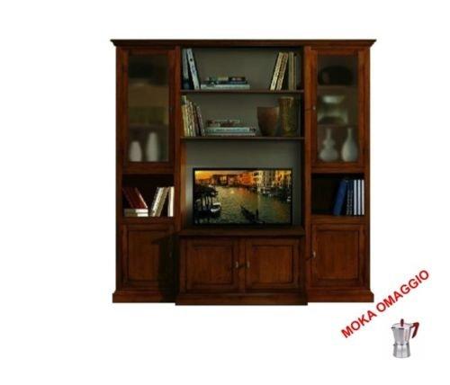 Classico composizione parete attrezzata tinta noce mobile porta tv per sala 582 225x50x220
