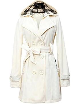 Internert Abrigo de invierno con capucha Chaqueta con doble botonadura
