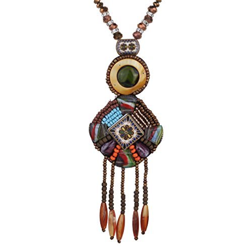 - 41OWaYokGqL - YAZILIND Creative Vintage Long Boho Statement Beads Tassel Necklace Trendy Bohemian for Women Accessories Jewelry