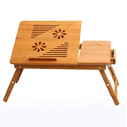 Computertische XIA Laptop-Schreibtisch Verstellbarer Laptop-Schreibtisch 100% Bambus mit USB-Lüfter Faltbares Frühstück Tablett mit Schublade