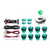 Hikig Zero delay USB Encoder per PC Joystick con Pulsanti LED per Giochi Arcade Mame Fai da Te e Raspberry Pi Retropie (Verde)