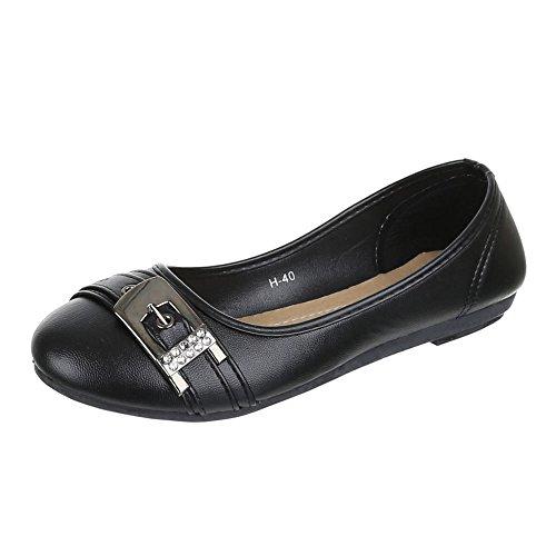 Damen Schuhe, H-40, BALLERINAS STRASS BESETZTE PUMPS Schwarz