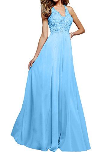 Ivydressing Hochwertig Neu V-Neck Spitze Abendkleider Lang Ballkleider Promkleider Blau