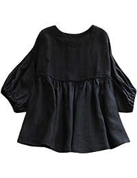 28e67da652d3b Zegeey Mode Damen Rundhals Leinen Halbe Laterne Ärmel Hemd Solide Bluse  Elastische Tops Vintage Bluse Beiläufiges