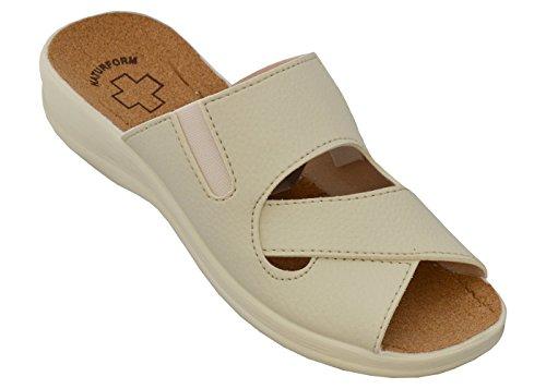 Damen Pantolette Arbeitsschuhe Medizinische Schuhe Sandalen Komfort Kork Hausschuhe Arbeit Leicht und Bequem (38, Beige 1)