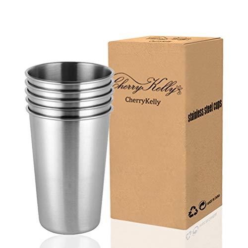 CherryKelly Edelstahl Tassen Wiederverwendbare Metall Becher Stapelbare Trink Gläser, 500ml, 5er Set Camping-becher