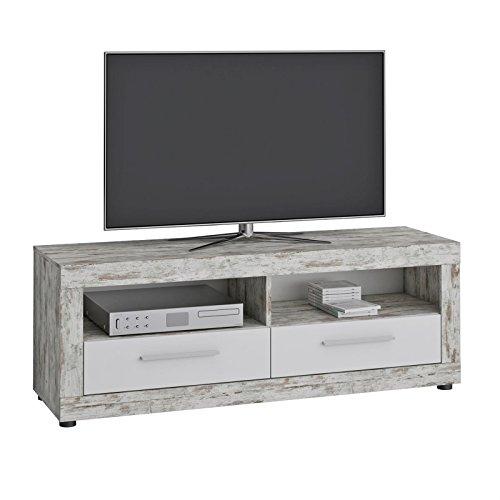 CARO-Möbel TV Lowboard View Fernsehtisch TV Sideboard mit 2 Fächern und 2 Schubladen in Shabby Chic/weiß