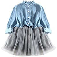 Baby Girls Dress For 0-7 Years Old, ❤️ Xinantime Toddler Girls Denim Long Sleeve Cowboy Clothes Princess Tutu Dress