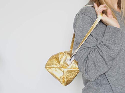 Goldene Tasche aus Piñatex® - vegane Ananasfaser - 4