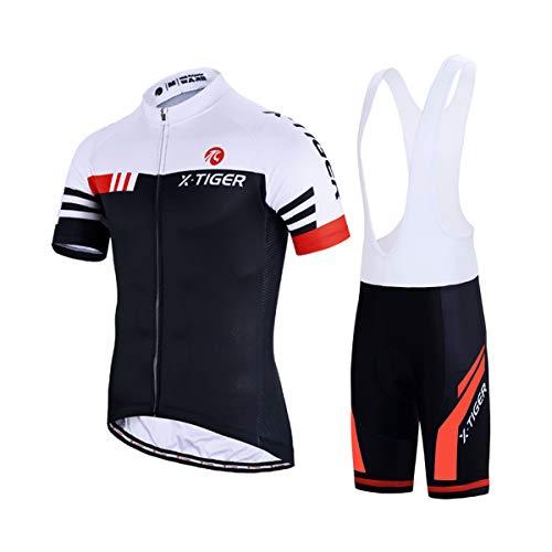 X-TIGER da Ciclismo Uomo 5D Gel Salopette Pantaloncini Corti Imbottiti Set di Abbigliamento Ciclista (Rosso e Bianco, L(CN)=M(EU))