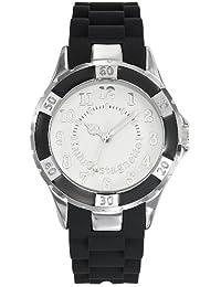 Lulu Castagnette - 38730 - Montre Femme - Quartz Analogique - Cadran Blanc - Bracelet Silicone Noir