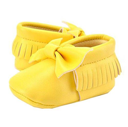 Lucky staryuan ® Baby Säugling Quaste Weich Sohle Leder Schuhe Unisex Kleinkind Schuhe (11cm, Weiß) Grün