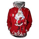 Soupliebe Damen Frohe Weihnachten O Neck Santa Pullover gedruckt Sweatshirt Tops Bluse Kapuzen Langarmshirt Sweatjacke Kapuzenpullover Hoodie