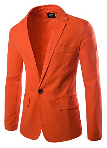 Y-BOA Blazer/Veste Décontracté Homme Fit Casual Costume Slim Smoking Printemps Orange