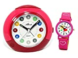 Atlanta 1526-1 KAU - Sveglia per bambini con orologio da polso, colore: Rosa/Rosso