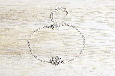 Bracelet fleur de lotus argenté lotus flower bracelet