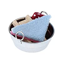 SaniMomo Miniature Iron Wash Tub (with Washing Board and Clothes) 1/12 Scale, for Dolls House Decoration, 5x5x2.5cm