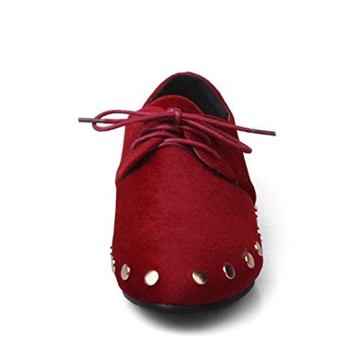 COOLCEPT Femmes Fille Noir Smart lacets Brogue Travail Ecole Decontractee Escarpins Chaussures Rouge
