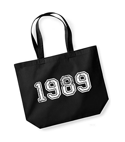 1989 - Large Canvas Fun Slogan Tote Bag Black/White