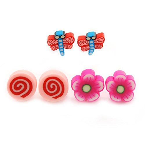 Per bambini/agli adolescenti/kids, fimo, scuro rosa fiori, rosa confetto & rosso/farfalle blu, orecchini in metallo