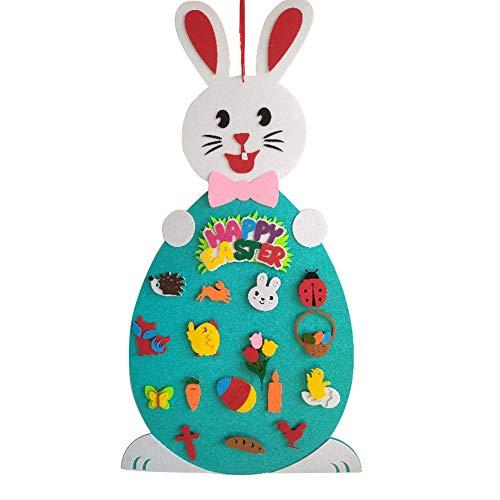 Jycra - set di conigli pasquali in feltro con decorazioni pasquali staccabili per bambini, pasqua, capodanno