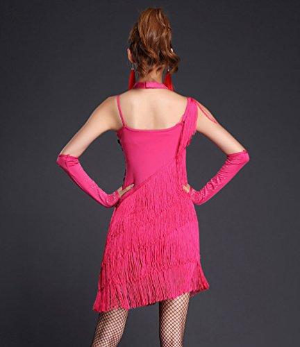 NiSeng Damen Latin Kleid Paillette Quasten Kleid Latin-Tanzkleidung Kostüme Rose