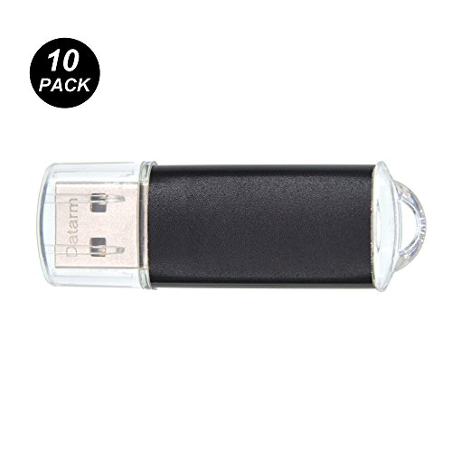10 Stück USB Sticks 1GB Speichersticks - Mini Metall USB Flash Laufwerk - Externe Geräte Datenspeicher - Datarm Schwarz Memory Stick mit Kappe