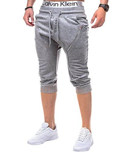Helle Knöpfe (BetterStylz StockportBZ Kurze Jogging-Hose Sweat-Shorts Bermuda Fitness mit Reißverschlüssen und Knöpfen Hell Grau (M))