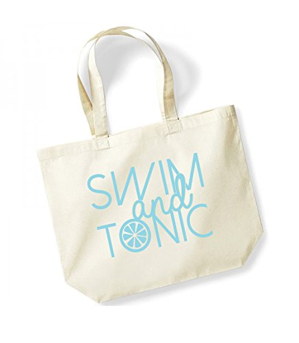 Swim and Tonic - Large Canvas Fun Slogan Tote Bag Natural/Blue