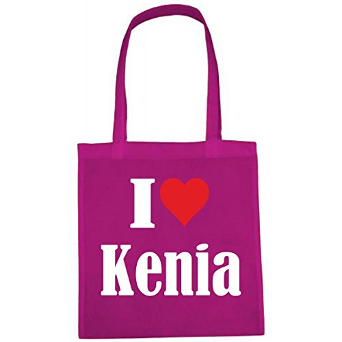 Tasche I Love Kenia Größe 38x42 Farbe Pink Druck Weiss