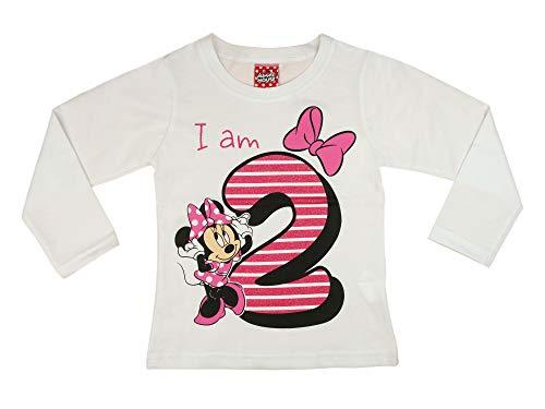 Mädchen Baby Kinder zweiter Geburtstag T-Shirt 2 Jahre Baumwolle Birthday Outfit GRÖSSE 92 98 Minnie Mouse Disney Design Glitzer Weiss oder Rosa Babyshirt Oberteil Farbe Rosa, Größe 98