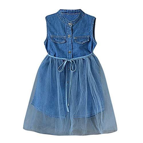 IZHH Kinder Kleider, Kleinkind Baby Sleeveless Kleider Mädchen Denim Mesh Pachwork Spitzenkleid Outfits Kleidung 18M-6Y Outdoor-Party-Kleid für Kinder(Blau,7)
