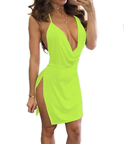 Woweal NEU Sommerkleid Damen Reizvolle ärmellos Tief V Ausschnitt Bodycon Minikleid Partykleid...