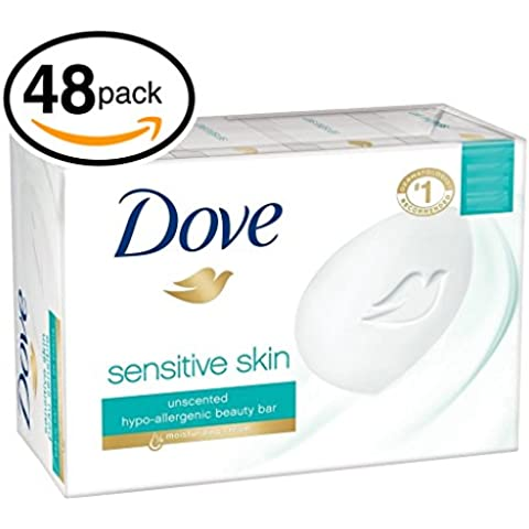 (PACK OF 48 BARS) Dove Unscented Beauty Soap Bar: SENSITIVE SKIN. Hypo-Allergenic & Fragrance Free. 25% MOISTURIZING LOTION & CREAM! Great for Hands, Face & Body! (48 Bars, 3.5oz Each Bar) by Dove