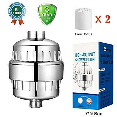 Duschfilter 10-Stufen-Hochleistungs-Universal-Duschfilter mit austauschbarer Filterpatrone,Reduziert Chlor U. Schadstoffe,Universeller Hochdruckausgang, Hand- oder Kombikopf zur Reduzierung von