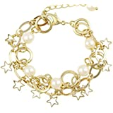 Bracelet for women with gold plated with white pearls