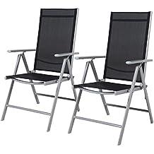 Grand Patio Conjunto de 2 sillas plegables, ajustables, impermeables y resistentes al Sol, para jardín, terraza, patio, multi-posición, Negro