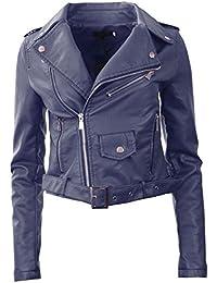 GG New Womens Faux Leather Biker Zip Crop Ladies Jacket Coat