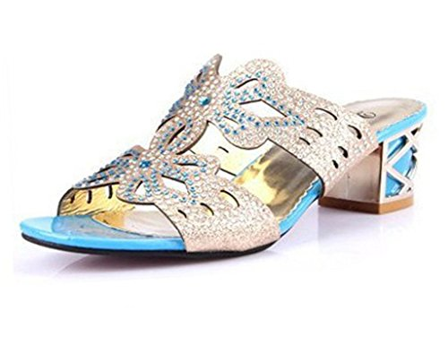 Minetom Damen Sommer Strass Butterfly High Heels Sandalen Pantoffeln Peep Toe A Himmelblau EU 37 (Butterfly Perlen-sandalen)