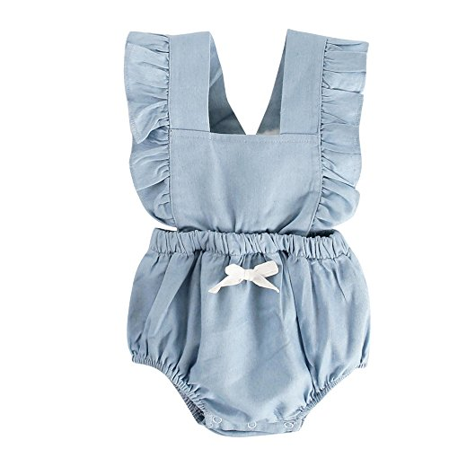 Sanlutoz Baby Jungen Mädchen Rüsche Baumwolle Bodys Niedlich Unisex Neugeborenes Baby Strampelhöschen (12-18 Monate, BRS7047-BL)