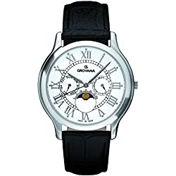 Grovana Unisex Quartz Watch with White Dial Analogue Display and Black Leather Strap 1025.1533