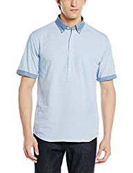 Tommy Hilfiger Mens Casual Shirt (8907504032235_A6AMW033_L_Shirt Blue)
