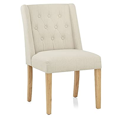CrazyGadget® Fabric Contemporary Dining Seat Feature Buttoned Chair with Wooden Legs - Light Cream produced by CrazyGadget® - quick delivery from UK.