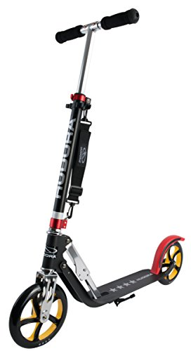 HUDORA Big Wheel Scooter 205, Tret-Roller klappbar - City-Scooter - 14759, schwarz/rot/gold