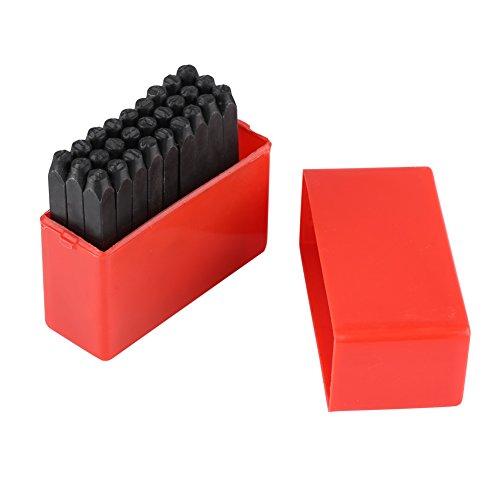 Metall Stempel, Kohlenstoffstahl 3mm Alphabet/Zahlen Punch Metallstempel Handwerk Werkzeug Kit mit Etui(A-Z-&)