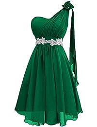 Gorgeous Bride Modern Knielang Ein-Traeger Empire Chiffon Brautjungfernkleid Cocktailkleid Partykleid