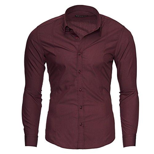 Merish Camicia Uomo, Slim Fit Camicia manica lunga, premuto il pulsante adatto per tutte le occasioni,casual e chic, diversi Colori Taglia S - XXL Modell 204 Bordeaux S