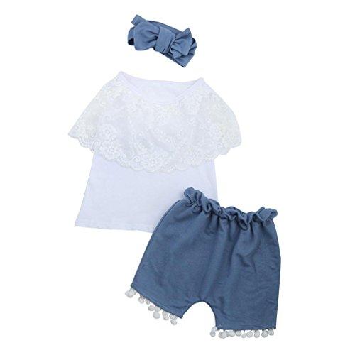 PINEsong 2PC Outfits Kleider Set Kleinkind Säugling Kinder Baby Mädchen Spitze T-Shirt Tops+Shorts Hosen (Weiß, 6M) (Säuglings-camo-kleidung)