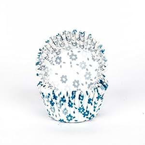 100 PAPIER TASSE POUR GATEAUX 7 cm CUPCAKE MUFFIN CAKEPOPS FLEUR BLUE